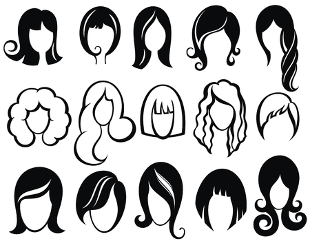 Silueta de peinado Mujer, niña, cabello femenino Símbolos de peluca de vector de belleza Ilustración de vector