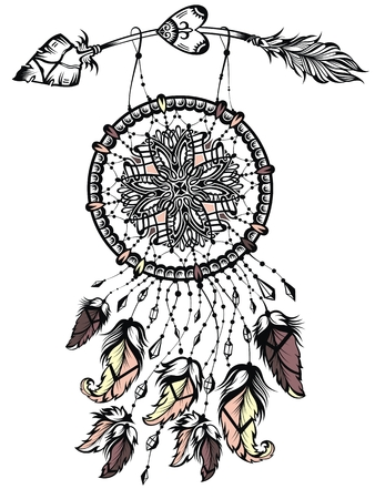 Illustration of dream catcher with arrow, native american poster.Tattoo design