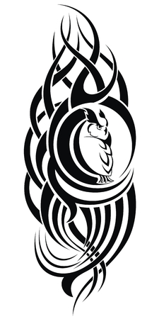 Patterned owl on white background. African  indian  totem  tattoo design. It may be used for design of a t-shirt, bag, postcard, a poster and so on.