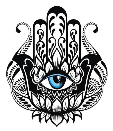 Hamsa symbol. Hand of Fatima. Tattoo design