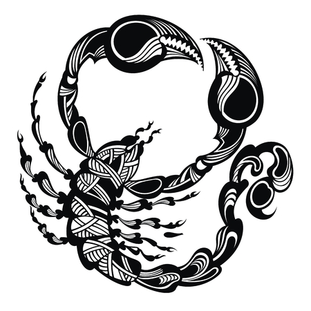 Black and white Scorpion. Tattoo animal. Vector illustration concept design for a logo