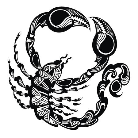 Scorpione in bianco e nero. Animale del tatuaggio. Illustrazione vettoriale concept design per un logo Logo