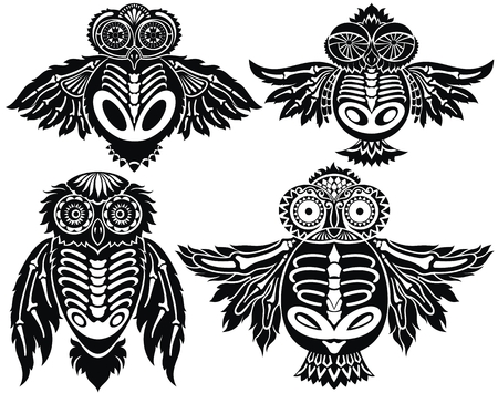 Owls illustration in tribal style. For poster, print, card, banner Ilustração