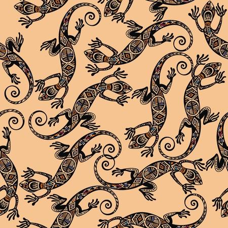 Seamless pattern with lizard