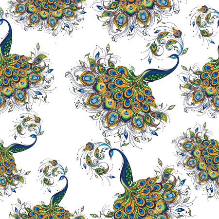 Seamless pattern with peacock