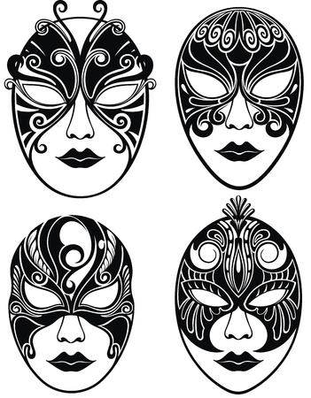 Hermosa máscara para Mardi Gras. Conjunto de máscaras de mujer