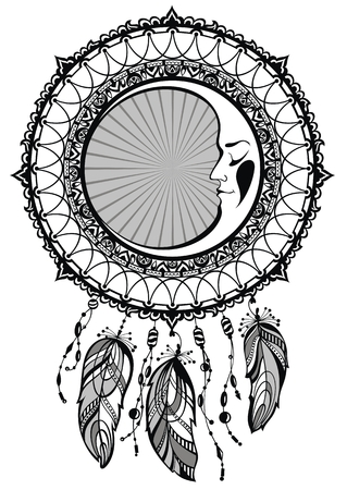 Dream catcher decorated with feathers and moon. Vectores
