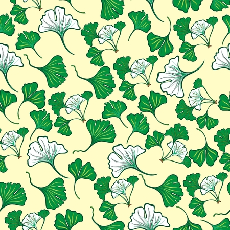 Seamless floral pattern with ginkgo leaves. Ginkgo biloba
