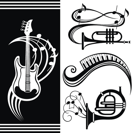 Music equipment. Guitar music design. Trumpet