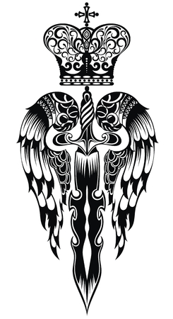 Sword with wings and crown