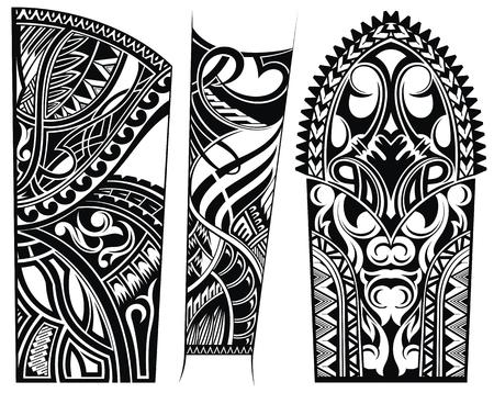 Patrones abstractos étnicos Ornamento del tatuaje Ilustración de vector