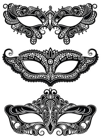 Hermosas máscaras de símbolo de encaje. Mardi Gras