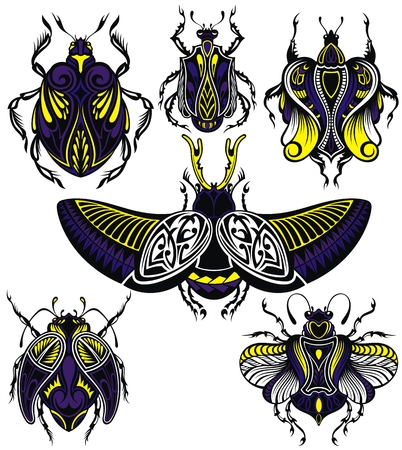 Different decorative tattoo insects with wings