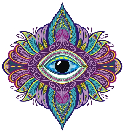 Abstract symbol Eye in Indian Asian Ethno style