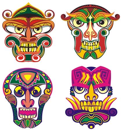 Ethnic masks or tribal masks Vektorové ilustrace