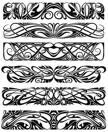 Floral pattern. Ornamental border for ribbons, fabric, wrapping, wallpaper, tape. Decorative design element Ilustração