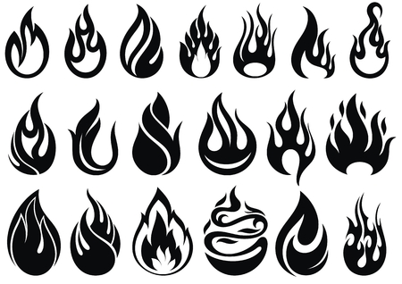 Fire flames, set vector icons Ilustrace