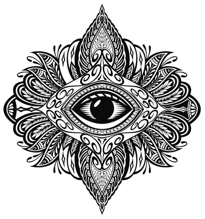 Blackwork tattoo. Eye of Providence. Mandala with eye