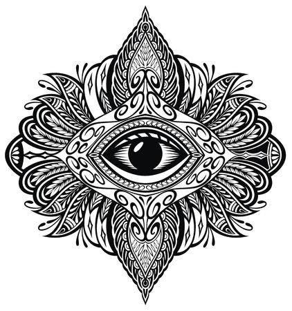 Tatouage au noir. Eyeil de la Providence. Mandala avec oeil