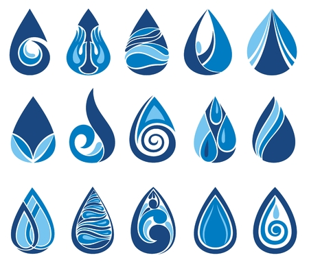 Abstract set of blue water drop icons