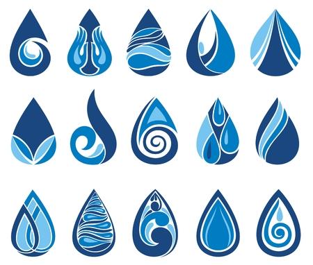 Ensemble abstrait d'icônes de goutte d'eau bleue