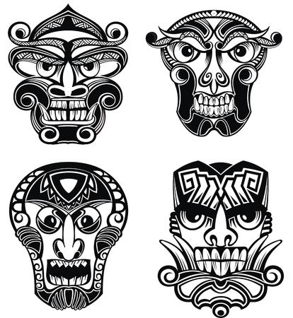Tribal Mask. Idols icon set. Vector illustration