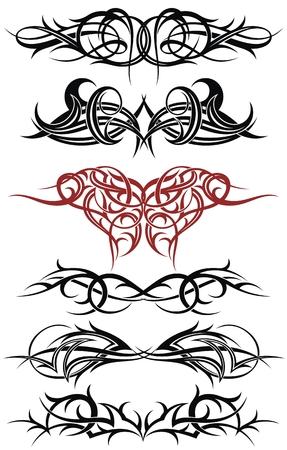 Elementos art deco patrón fantasía, boceto del arte del tatuaje tribal