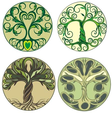 Disegno astratto del logo dell'albero vibrante