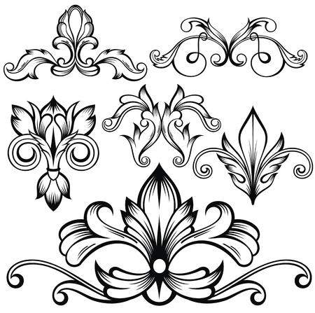 Set of vector calligraphic decorative elements for design