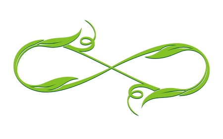 Infinity Loop vector symbol, conceptual spring logo with leaves