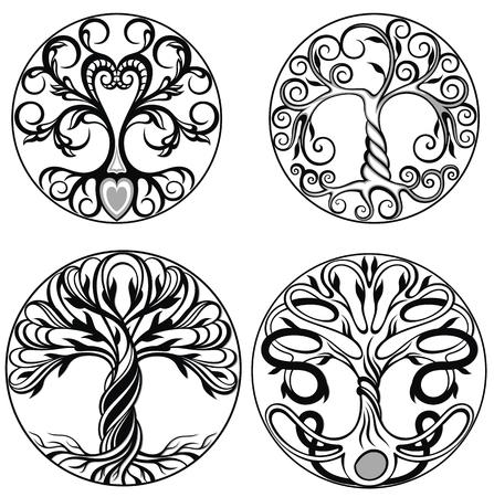 Ornamento del vector, árboles celtas decorativos