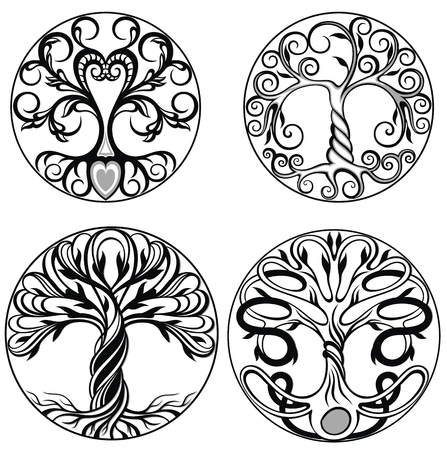 Vector ornament, decorative Celtic trees
