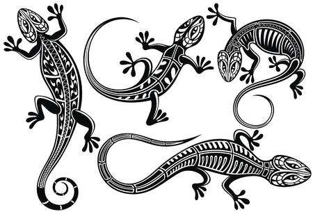 Set of lizard salamader gecko sillhouette