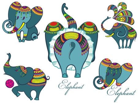 Cute elephants cartoon. Baby shower invitation card.