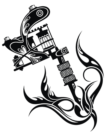 Vector illustration of tattoo machine Çizim