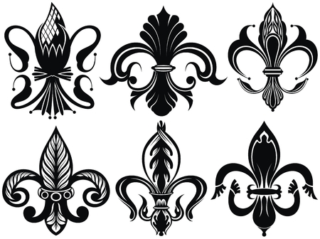Vector illustration lily flower heraldic emblem. Royal fleur-de-lis