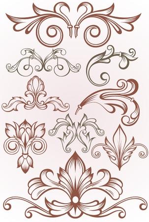 Vintage frame border tattoo floral ornament leaf scroll