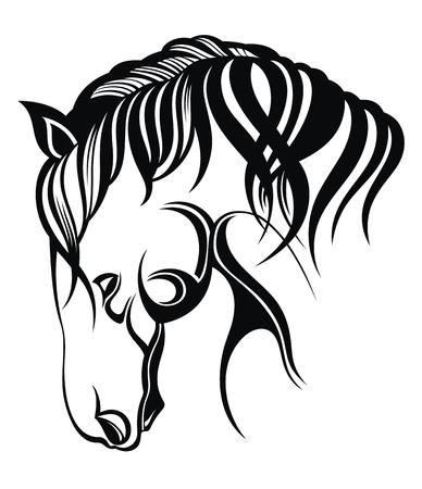 Silueta de vector de la cabeza de un caballo. Diseño de emblema sobre fondo blanco.