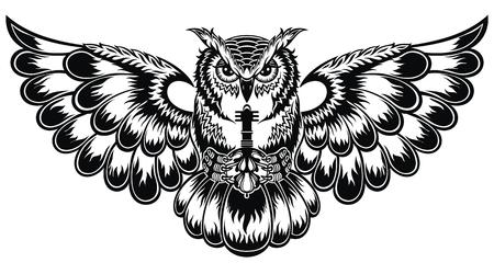 Ilustración de tatuaje con búho decorativo. Patrón de vector de fantasía hermosa para camiseta. Ilustración de vector