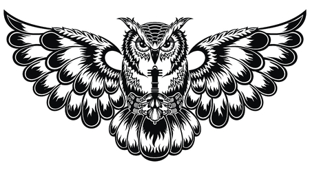 Tattoo illustration with decorative Owl. Beautiful fantasy vector patern for t-shirt. Vettoriali