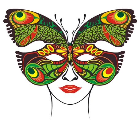 Festive mask. Butterfly filigree mask template Stock Illustratie