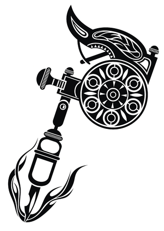 Tattoo machine. Vector illustration on white background