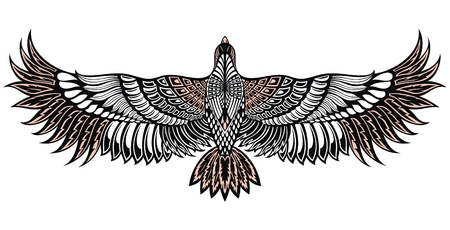 Eagle bird icon. Vector heraldic emblem of powerful wild wild falcon. Bird tattoo