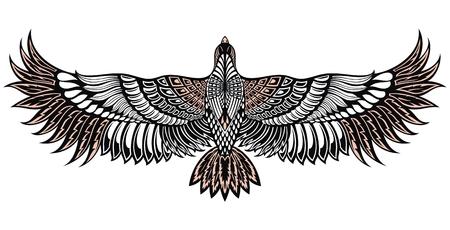 Icône d'oiseau aigle. Emblème héraldique vectoriel du puissant faucon sauvage sauvage. Tatouage d'oiseau