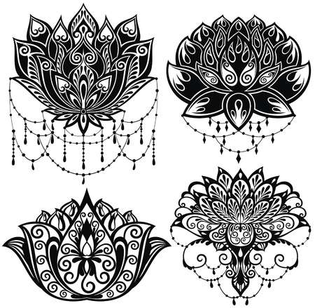 Lotus flowers silhouettes. Set of four vector illustrations.