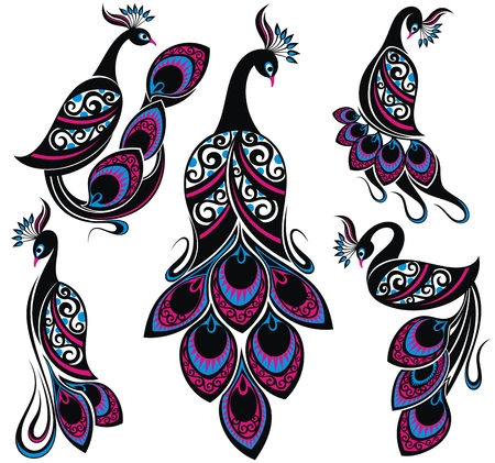 Peacock drawing fantasy birds.Collection of Peacocks