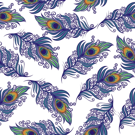Peacock Feathers design. Vector seamless pattern