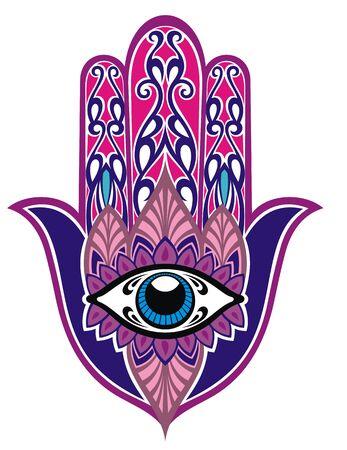 """Symbol Hamsy. Dekoracyjny wzór. Starożytny znak """"Ręki Fatimy""""."""