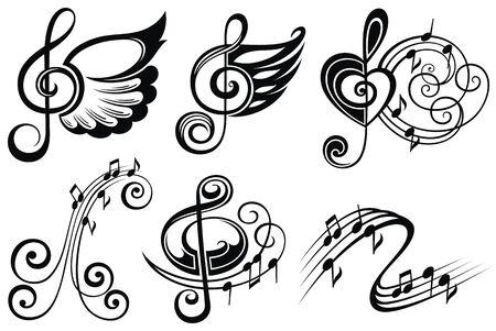 Insieme di elementi di design musicale. Simboli musicali