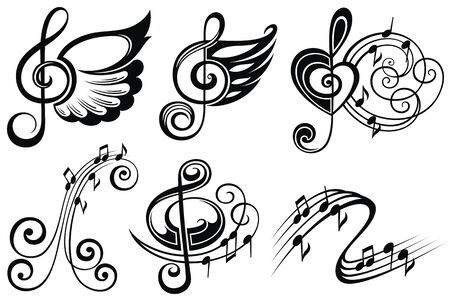 Musikalische Design-Elemente-Set. Musikalische Symbole
